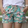 2016 Summer Style Shorts Fashion Floral Elastic Waist Drawstring Shorts Women  B100