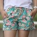 2016 estilo verão Shorts moda Floral Elastic cintura com cordão Shorts mulheres B100