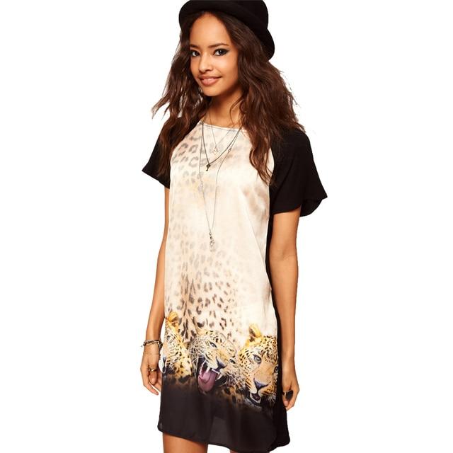 Women Summer Dress 2015 New Fashion Vestidos Tiger Leopard Print ...