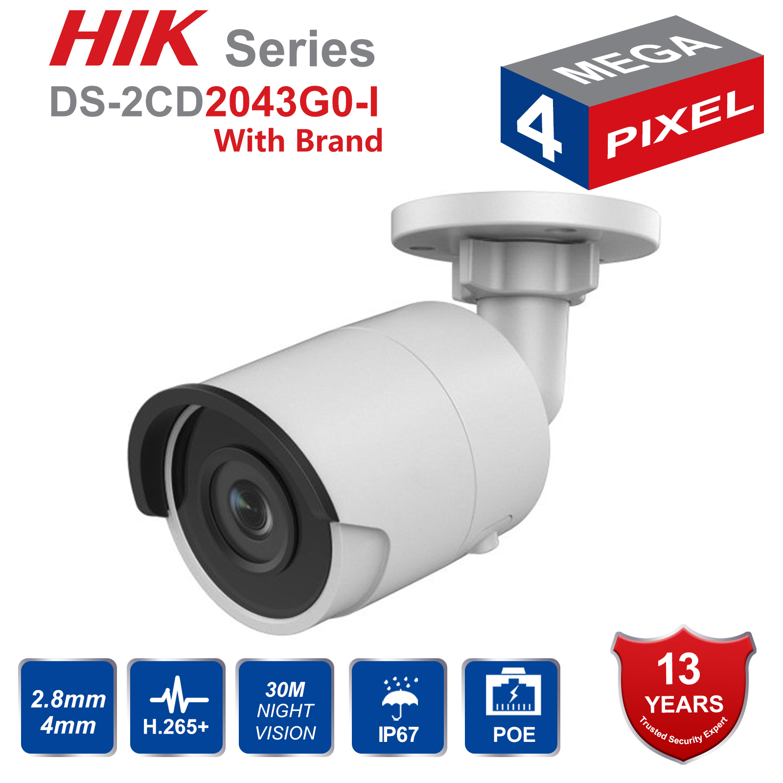 In Stock Hik Original English DS 2CD2043G0 I 4MP Network Bullet Camera Security System upgrade DS