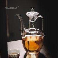 WIZAMONY 500 ml Hohe Borosilikatglas Teekanne Wärme Widerstand Teegeschirr geeignet für tee brauen Tee Set teasets