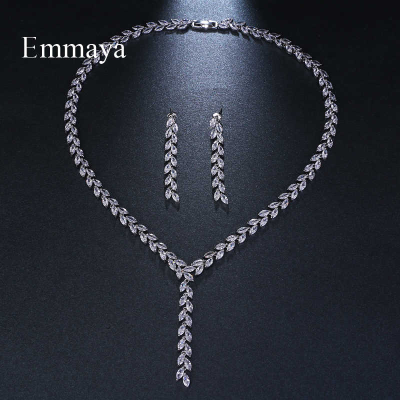 Emmaya เครื่องประดับอินเทรนด์โรแมนติก Salix ใบไม้สีขาวสีทอง AAA ประดับเพชรชุดเครื่องประดับจัดงานแต่งงานสำหรับเจ้าสาวเครื่องประดับของขวัญ