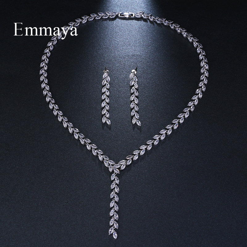 Emmaya Trendy Jewelry Design Romantic Salix leaf White Gold Color AAA Cubic Zircon Wedding Jewelry Sets For Brides Jewelry Gift