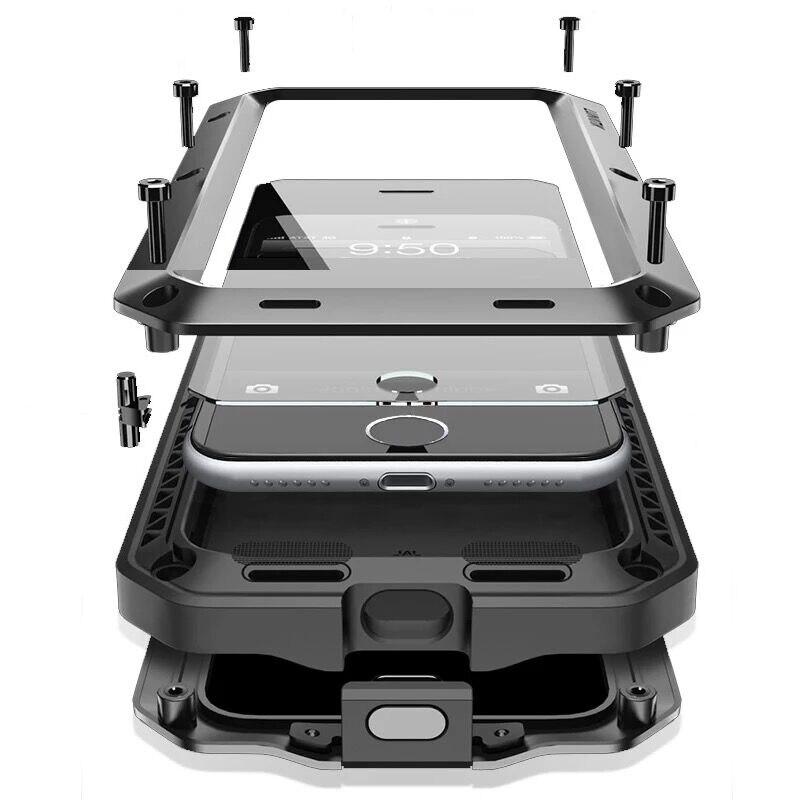 A Desgraça do Silicone À Prova de Choque Armadura Resistente À Água Da Vida de luxo Metal Case de Alumínio para IPhone 7 8X6 S 6 S Plus 5S 5 5SE 5C 4S Coque