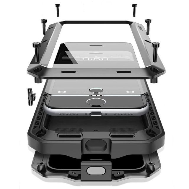 Luxe Doom Armor Leven Waterbestendig Shock Proof Silicon Aluminium Metal voor IPhone 7 8X6 S 6 S Plus 5 S 5 5SE 5C 4 S Coque