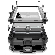 Роскошные doom Броня жизнь Водонепроницаемость Ударопрочный силиконовый алюминиевый металлический корпус для iPhone 7 6 6 S 6 S плюс 5S 5 5SE 5C 4S Coque