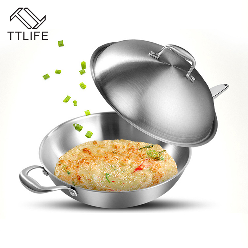 TTLIFE 32CM 34CM Nonstick Pan Cookware Smokeless <font><b>Wok</b></font> Kitchen Supplies Cooking Pots Pans With Stainless Steel Lid Long Handle