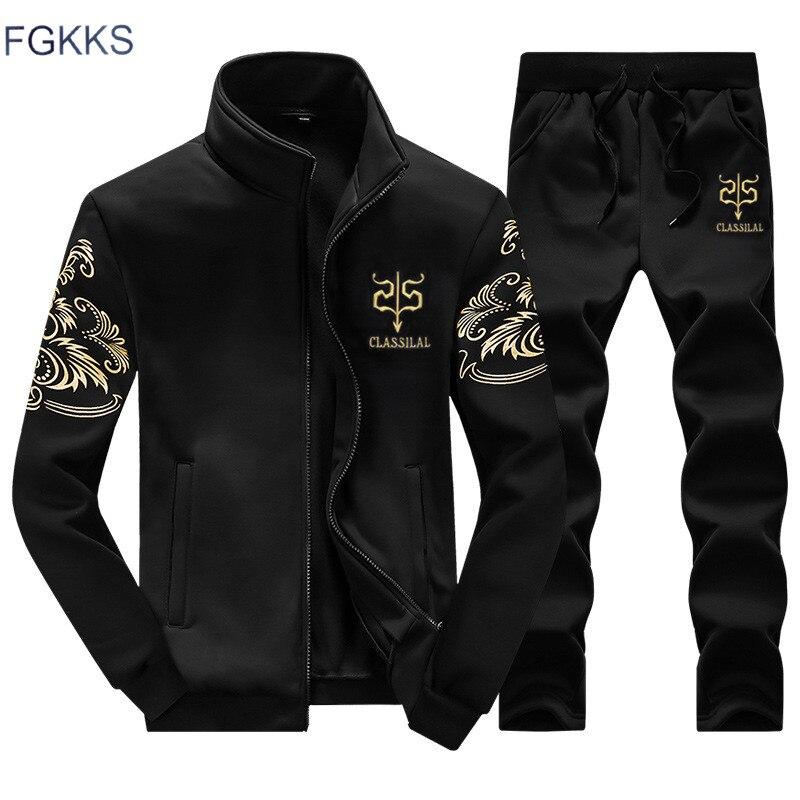 FGKKS marka erkek eşofman yeni moda spor takım elbise kazak + Sweatpants erkek giyim ince erkek eşofman