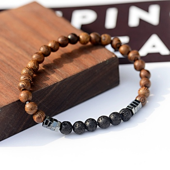 2019 Classic Women 6MM Natural Wood Beads Bracelet Men Ethnic Hematite Lava Stone Bracelet Homme Prayer Jewelry Yoga Bracelet