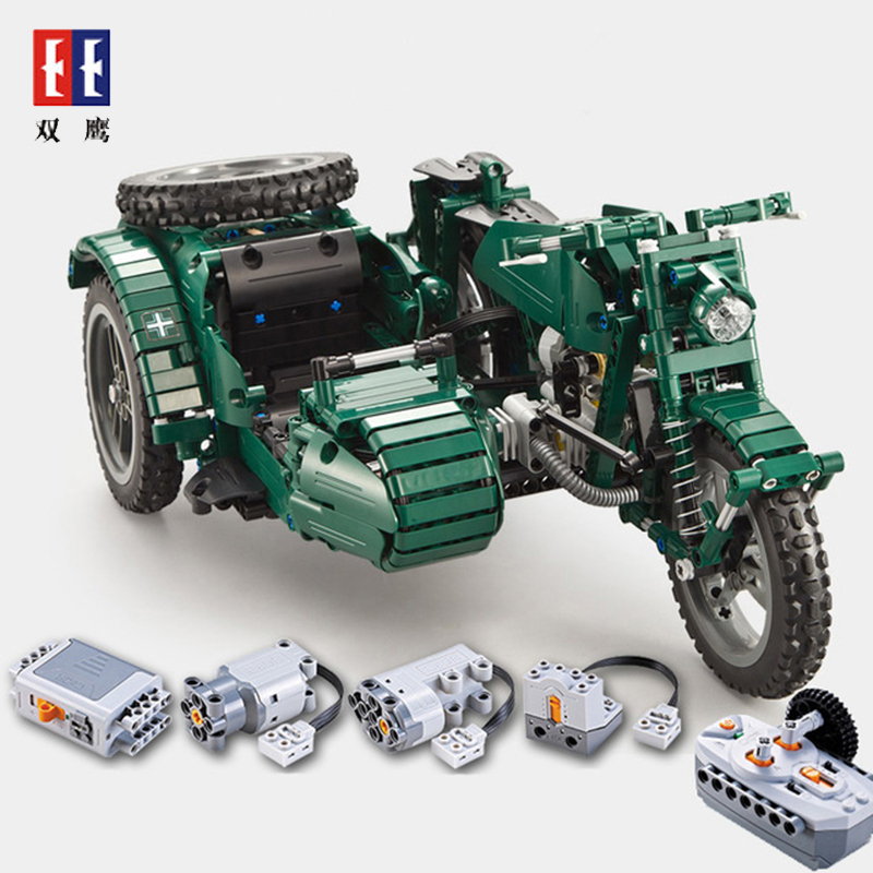 World War II military C51021 motorcycle technology remote control toys 629pcs building blocks assembled toys children giftWorld War II military C51021 motorcycle technology remote control toys 629pcs building blocks assembled toys children gift