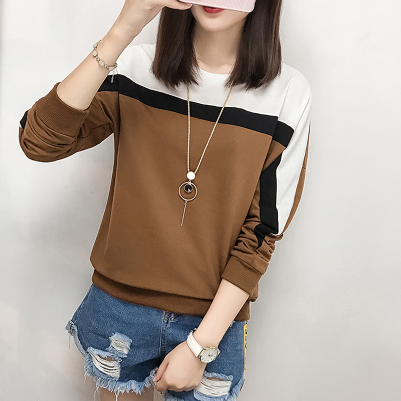 Patchwork Hit Color T Shirt Women T-Shirts 2018 Winter Tops Long Sleeve Casual Clothes Woman Loose Camiseta Mujer Vetement Femme