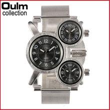 2016 nueva oulm 1167 reloj de plata de lujo completa de acero inoxidable 3 zona horaria movimiento japonés de cuarzo ejército militar hombres relojes de pulsera