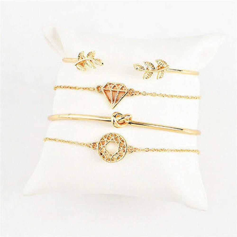 4PCS/Set Fashion Women Girl Leaf  Shape Knot Simple Adjustable Open Hollow Bangle Chain Bracelet Jewelry