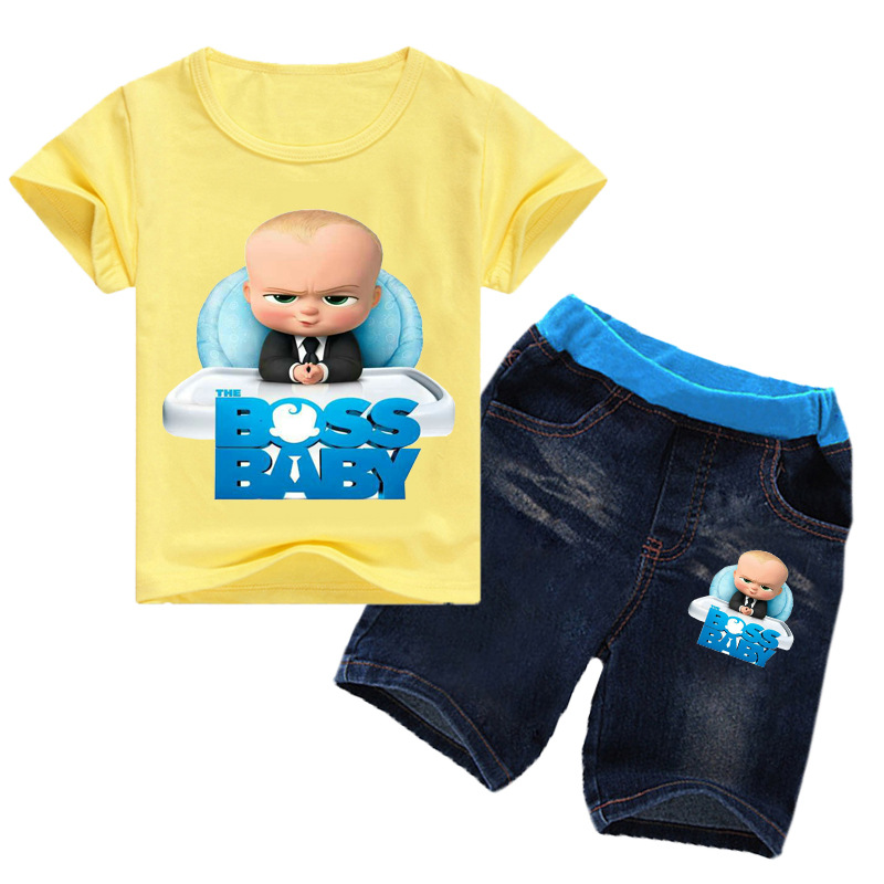 2-16Years 2019 Summer Boss Baby T-shirt Jeans Denim Shorts 2pcs Set Kids Clothes Sets Toddler Girls Summer Clothing Boys Suits 1