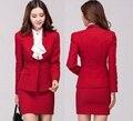 New Plus Size 4XL 2015 moda outono inverno uniforme de trabalho desgaste outono ternos de saia profissional conjunto de beleza