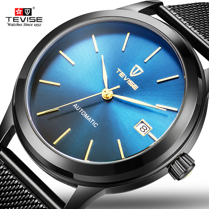 Tevise Classic Automatic Mechanical Watches Mens Stainless Steel Mesh Strap Watch Men Waterproof Clock Top Brand Wristwatch xfcs xfcs