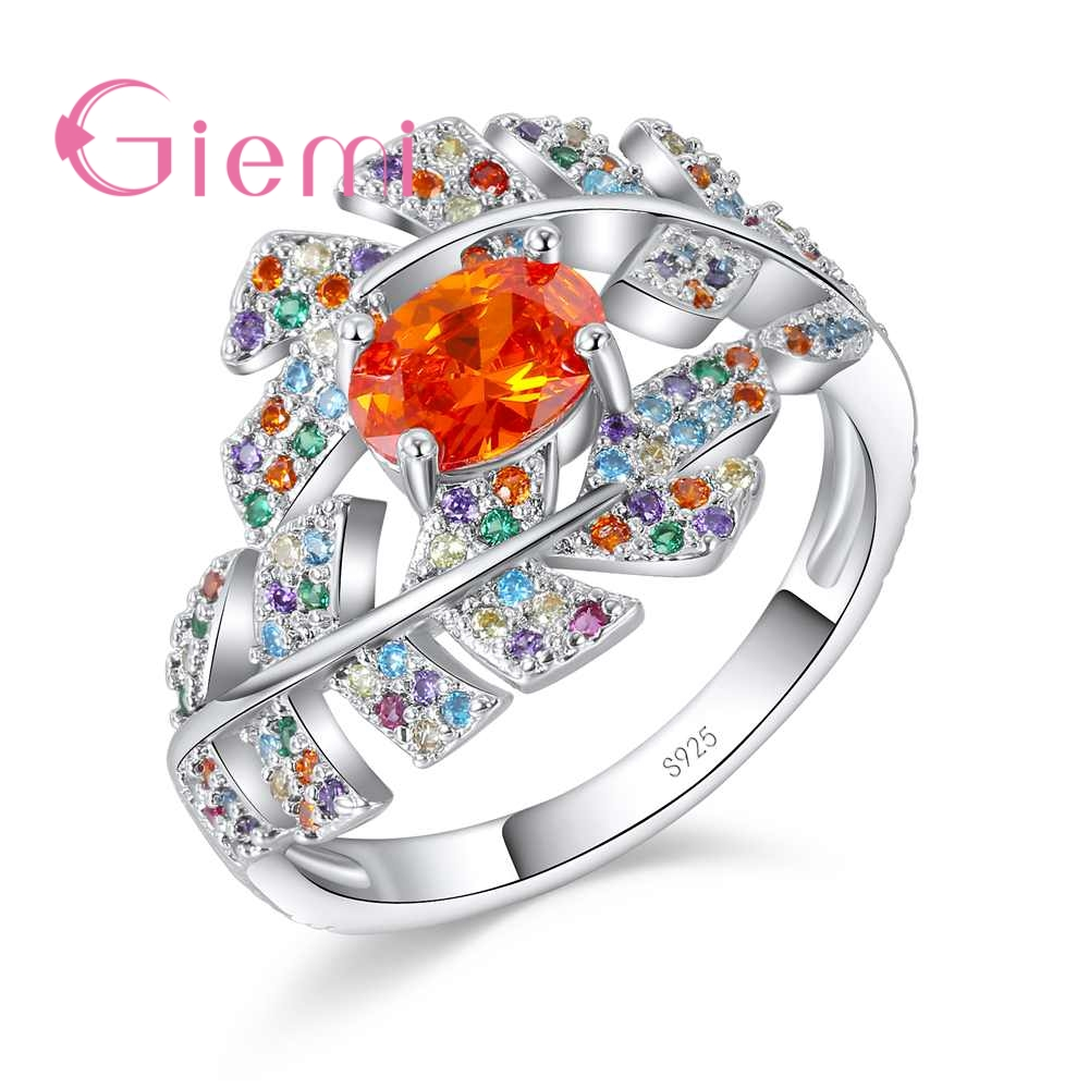 GIEMI Creative CZ Rainbow Leaf Ring with Big Oval Orange Crystal Fine 925 Sterling Silver Zircon Jewelry Women Girls Gift