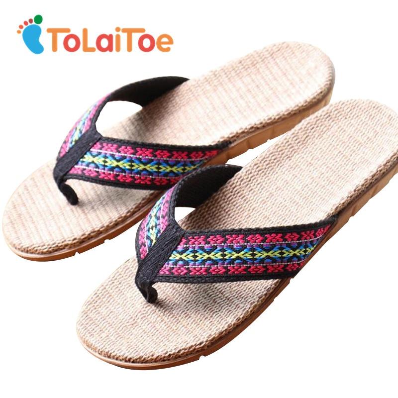 ToLaiToe Cheap Women Home Floor Slipper Rihanna Bohemian Linen Summer Cool Floor Slippers Sweat Breathable EVA Flip Flops tolaitoe autumn