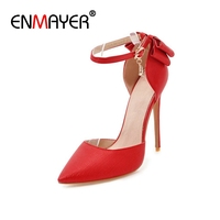 ENMAYER Sequined High Heels Shoes Pointed Toe Party Pumps Shoes Woman Big Size 34 47 Office Ladies Shoes CR103