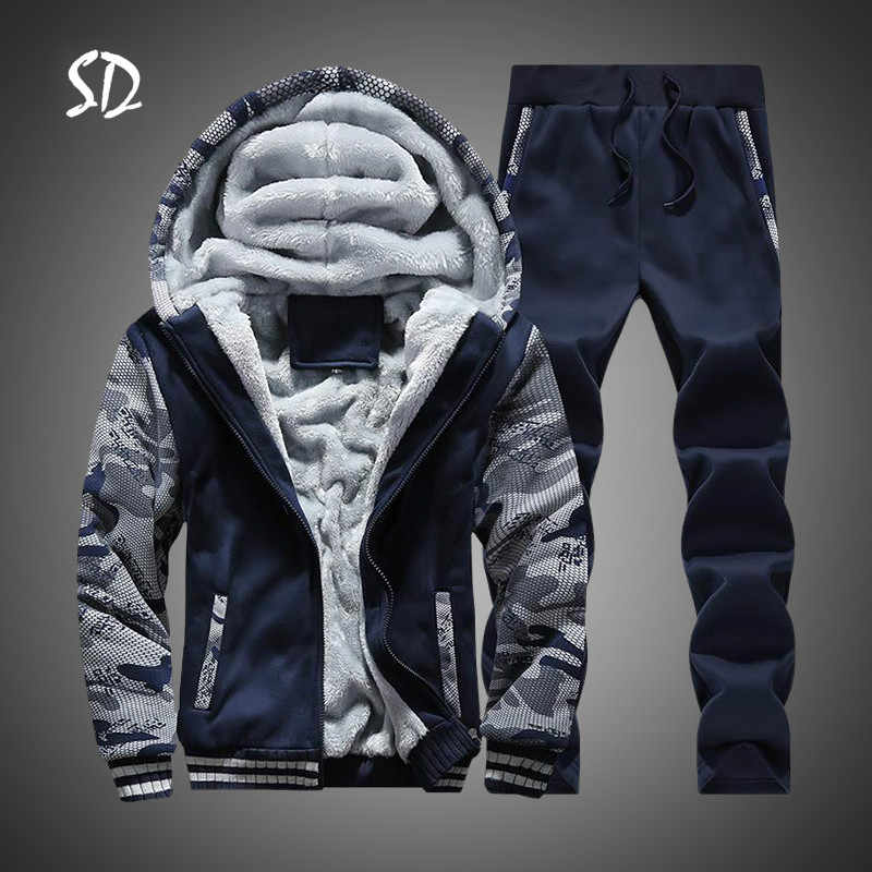 2 PC Jas + Broek Mannen Moleton Masculino Trainingspak Mannen Winter Camouflage Hoodies Casual Hooded Warm Sweatshirts Mannelijke Dikker Fleece