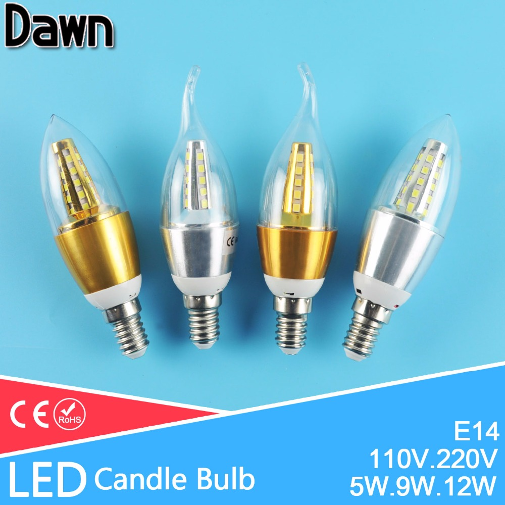 Lampada led candle led bulb light e14 5w 9w 12w 220v 240v for Lampada led e14