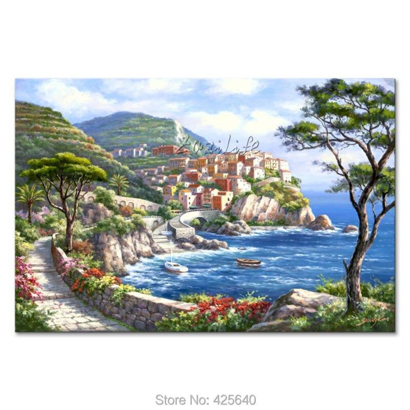 US $89.0 |Dipinti a mano Paesaggi Marini pittura per il salotto decora una  parete Mediterraneo immagini dipinte su tela art 14-in Pittura e ...