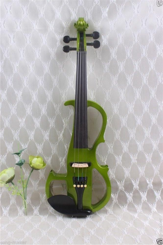 New Electric violin Solid wood silent 1/4 Metal Green Fine tone #1562 4 string orange 4 4 electric violin silent pickup fine tone solid wood3 the item is the color can choose color