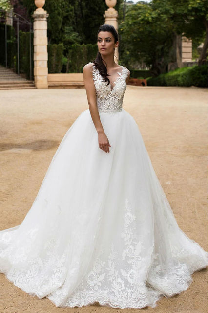 Hot Wedding Dress 2017 Bride Dress Transparent High Collar Lace - Wedding Dresses Princess Style