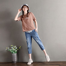 Pregnant Jeans Women Maternity Trousers Big Size Pregnancy Wear L-5XL Summer Maternity Clothes Wear Adjustable Belly Pants(Hong Kong,China)