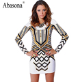 Summer Dress Women 2016 Brand Elegant Vintage Geometric Sexy Print Backless Long Sleeve Plus Size Clothing Party Dresses