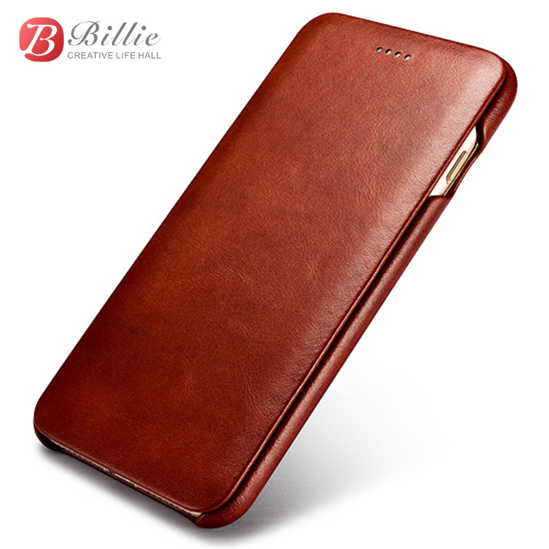 Classic Genuine Leather Full Screen Protective Flip Case Cover For iPhone 7/ 7Plus luxury Genuine Cowhide Mobile Phone bags Case