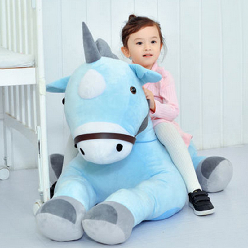 Fancytrader giant plush animal horses toy big soft stuffed riding horse for kids 100cm 39inch