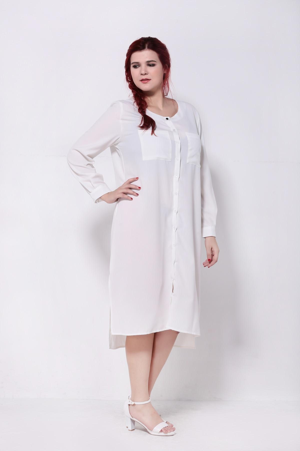 32c3aabd33 2016 Elegant Office Chiffon Shirt White Dress Vintage Maxi Dresses Women  Plus Size Long Sleeve Autumn Robe Femme 4XL 5XL 6XL 7xl-in Dresses from  Women's ...
