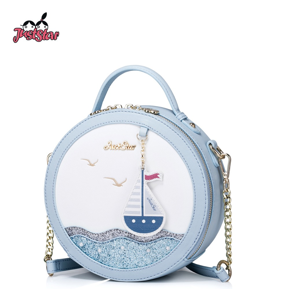 JUST STAR Women's PU Leather Handbag Ladies Small Fashion Tote Shoulder Purse Female Leisure Sea Circular Messenger Bags JZ4277 just star women s pu leather messenger bags ladies embroidery shoulder purse female chain leisure whale crossbody bags jz4468
