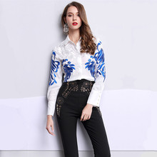 High quality 2017 New Runway Fashion Women Luxury Embroidery Blouse Turndown Collar Full Sleeve Silk Top Shirt /blouse plus Size