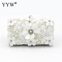 купить White Lace Clutch Bag Ladies Wedding Purse Luxury Rhinestone Evening Party Handbag Clutch Bag Beaded Metal Handle Crystal Sac по цене 1222.51 рублей