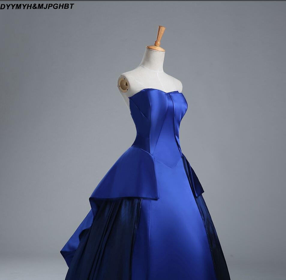 Real Image Corest Back plooi Bottom baljurken Royal Blue Prom - Jurken voor bijzondere gelegenheden - Foto 4