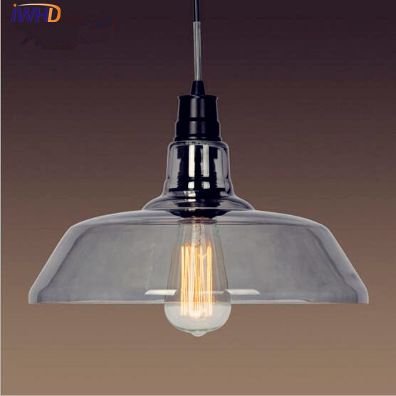 IWHD Glass Loft Style Vintage Pendant Light Fixtures American LED Edison Retro Industrial Lamp Hanglamp Lamparas Luminaire iwhd american style wood vintage pendant light fixtures iron retro loft industrial hanging lamp led living room hanglamp lustre