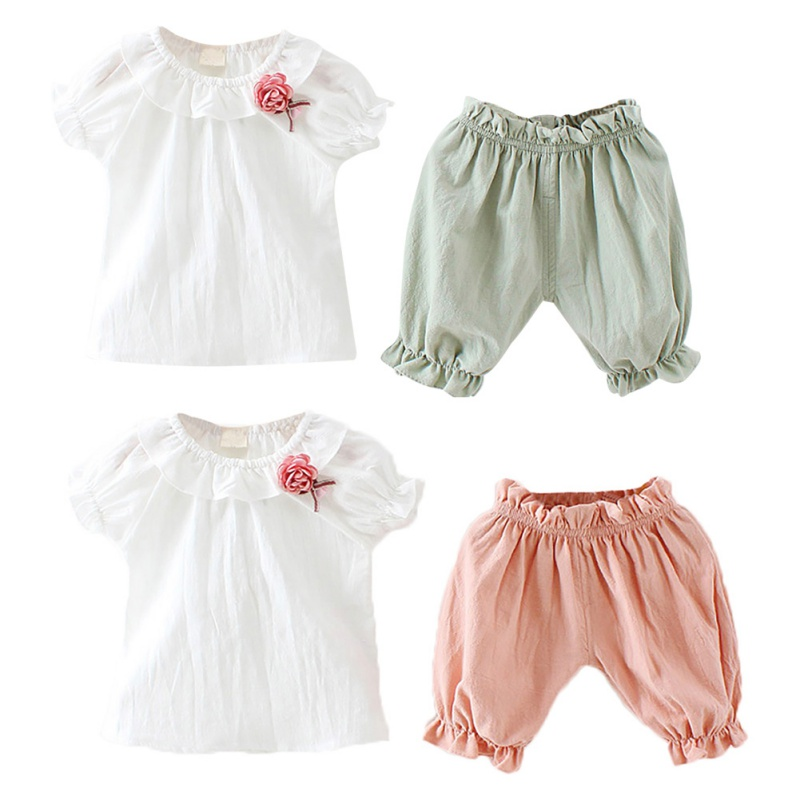 Baby Kid Girl Casual Set Cotton 2Pcs Baby Toddler Girls Kids Short-sleeved Top+Shorts Clothes Outfits Baby Kid Girl Casual Set Cotton 2Pcs Baby Toddler Girls Kids Short-sleeved Top+Shorts Clothes Outfits
