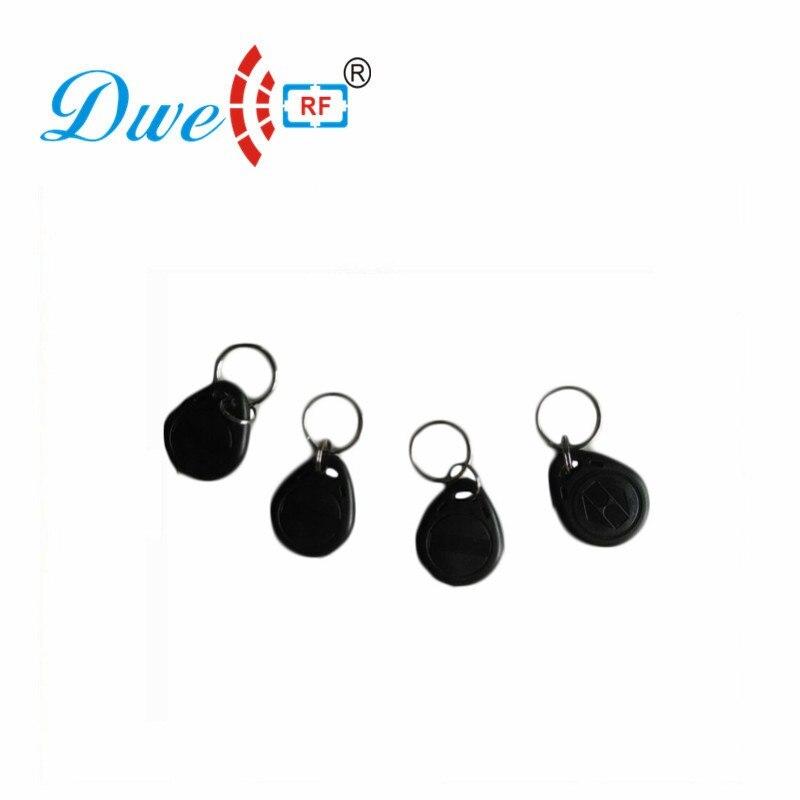 DWE CC RF Access Control Card 125khz EM4100 RFID Keyfob Black Token Key Tag For Access Control System K002 dwe cc rf wiegand26 125khz rfid id card tag keyfob reader waterproof access control wg26