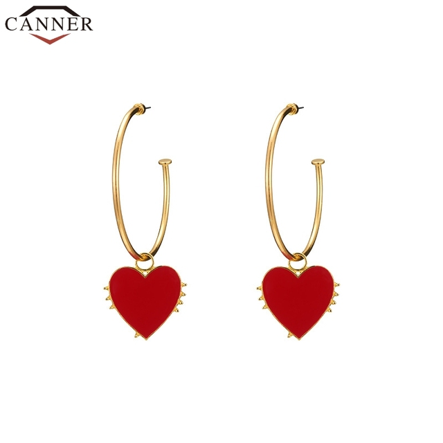 CANNER Fashion Round Earrings Circle Red Heart Hoop Earrings for Women Gold Hoop Earrings aros mujer.jpg 640x640 - CANNER Fashion Round Earrings Circle Red Heart Hoop Earrings for Women Gold Hoop Earrings aros mujer oreja FI