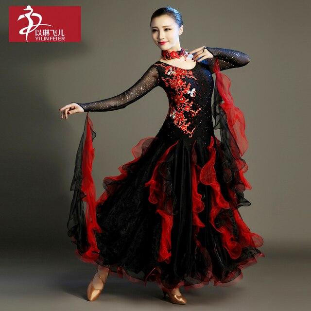 2017 Time-limited Costume Ballroom Dance Skirts Newest Design Woman Modern Waltz Tango Dress/standard Competition Dress -281