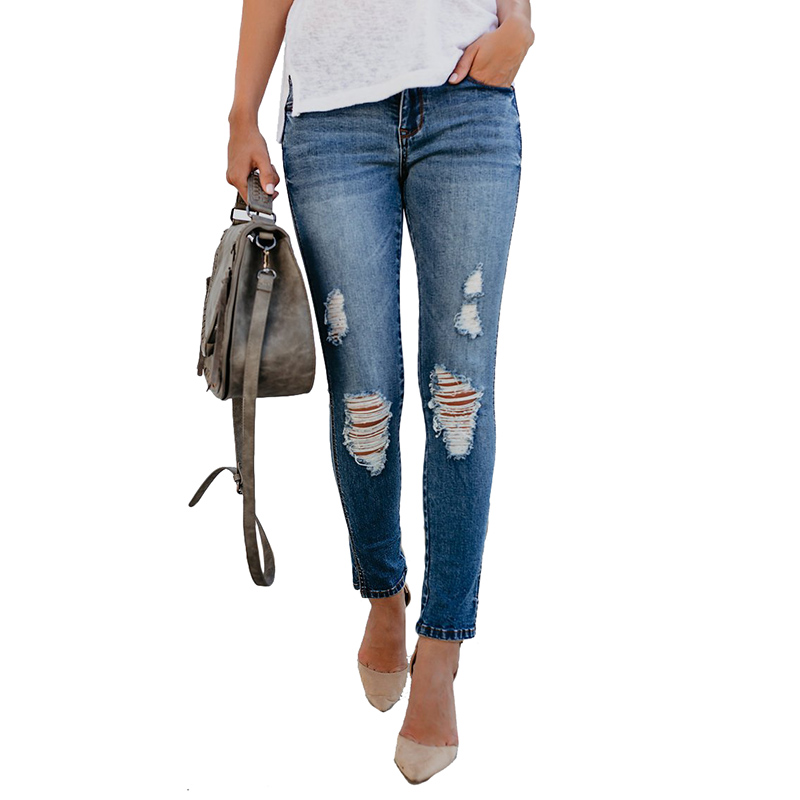 2019 Ripped Jeans For Women Skinny Pencil Pants Washed White Denim Jeans Woman Cropped Pants Femme Calca Feminina in Jeans from Women 39 s Clothing