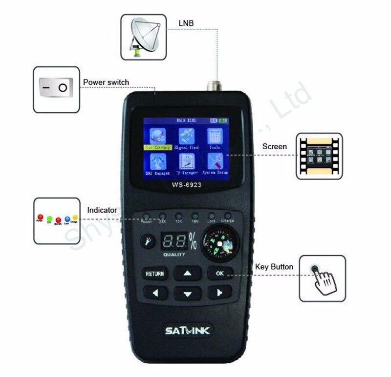 Original Satlink WS-6923 with 2.4 inch LCD DVB-S FTA C&KU Band Digital Satellite finder satellite meter ws 6923 With Compass