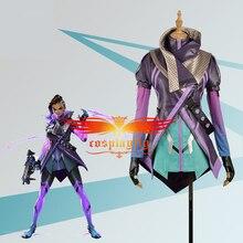 Gra OW Over przebranie na karnawał Hacker Sombra Nanosuit damski mundur strój damski na impreza dla dorosłych Halloween karnawał