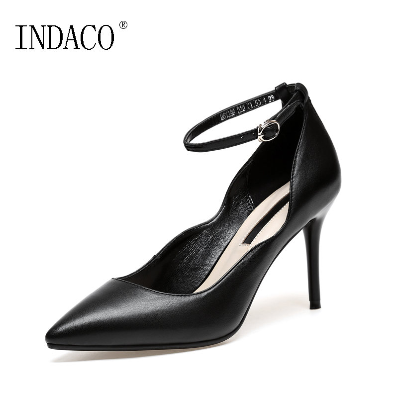 High Heel Pumps Genuine Leather Pointed Toe Ankle Strap Women Shoes Heels Party Wedding Pumps 8.5cm Escarpins Sexy Hauts Talons 2015 temperament high heel women pumps rhinestone ankle strap pointed toe ladies wedding shoes