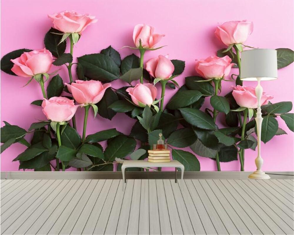 Купить с кэшбэком Beibehang 3D Wallpaper Modern Simple TV Backdrop Pink Rose Living Room Bedroom Background mural photo wallpaper for walls 3 d