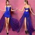 2014 Abalorios de Moda de Verano de Gasa de Encaje Sin Mangas Ahueca Hacia Fuera Sin Tirantes Acolchados Vestido Del Club Barato Para Las Mujeres Vestidos de Fiesta