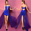 2014Summer Fashion Beading Chiffon Lace Sleeveless Strapless Hollow Out Padded Cheap Club Dress For Women Party Dresses