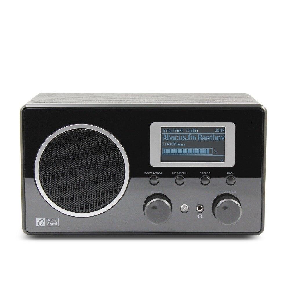 Ocean Digital Wooden FM Internet Radio WiFi Music LCD UPnP